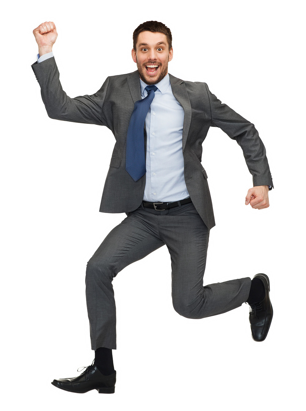 business and education concept - smiling businessman jumping